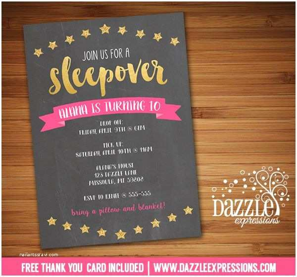 Teenage Party Invitations Printable Pink and Gold Sleepover Chalkboard Birthday