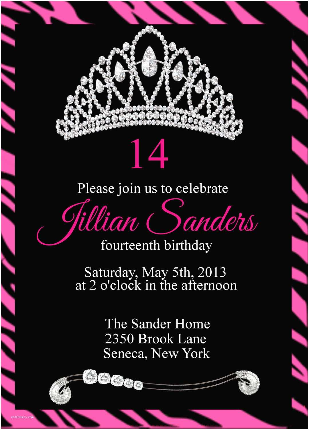 Teenage Party Invitations Printable Princess Crown Birthday Party by