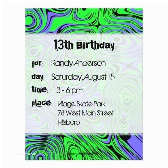 Teenage Party Invitations Teen Boys Birthday Party Invitations Green Card