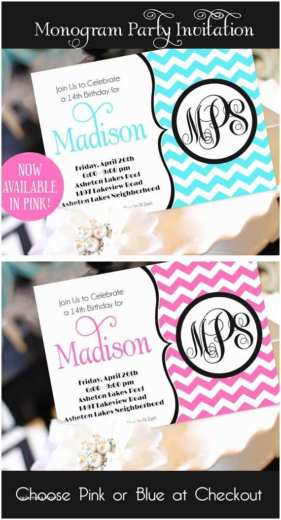 Teenage Party Invitations Teen Girl Birthday Invitation Monogram Birthday Invitation