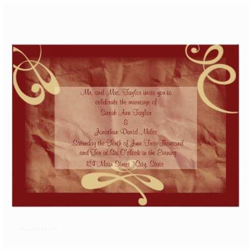 maroon khaki textured wedding invitation