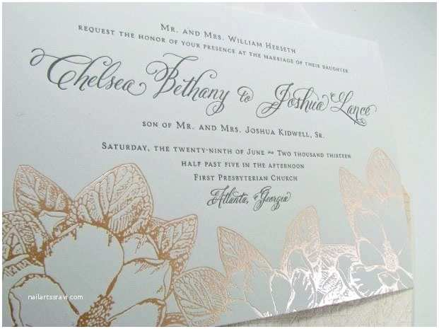 Textured Paper for Wedding Invitations Pink Foil southern Weddings Invitation Magnolia Luxury