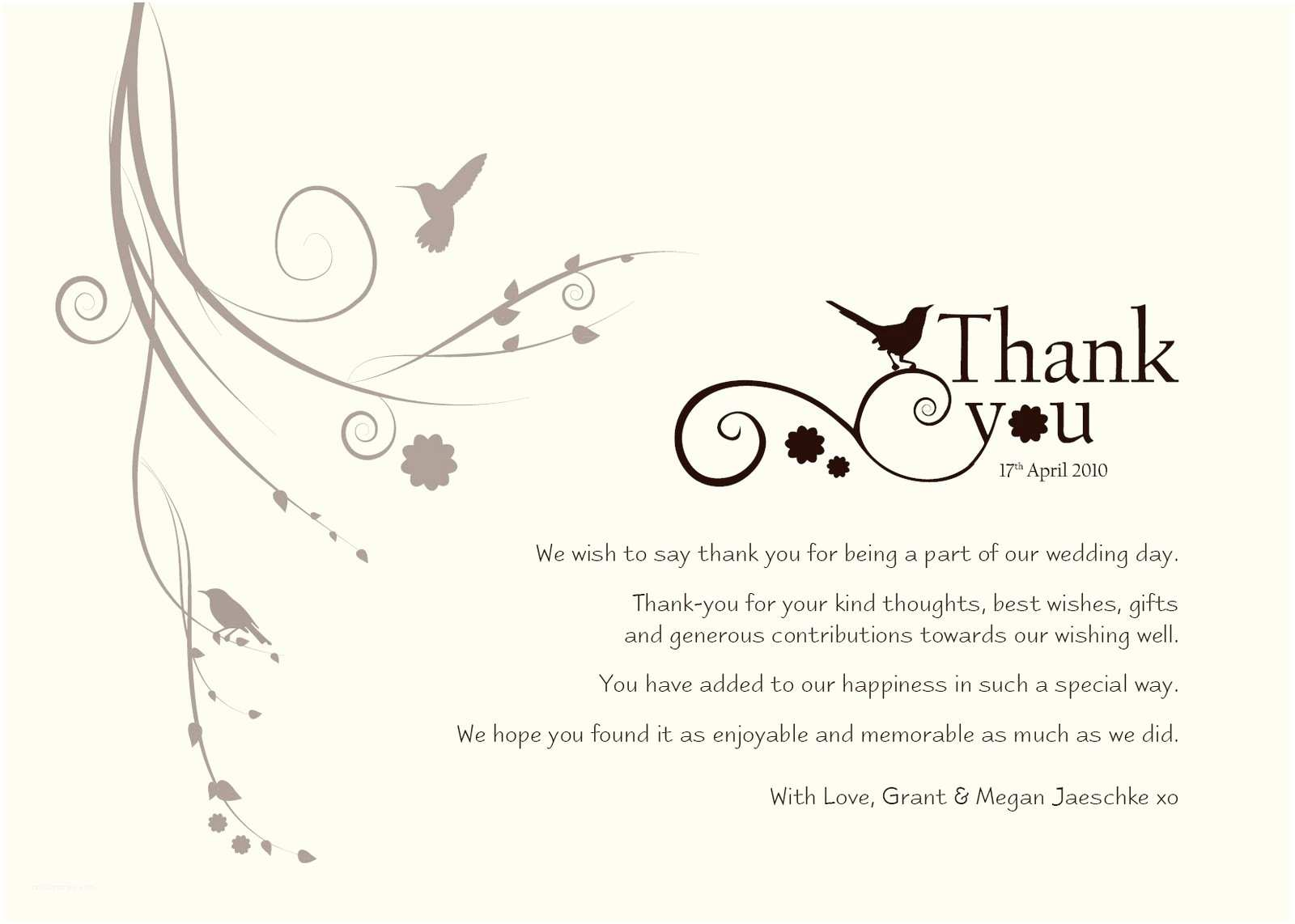 Thank You Message for Wedding Invitation Thank You Wedding Wording Did Not attend Invitations and