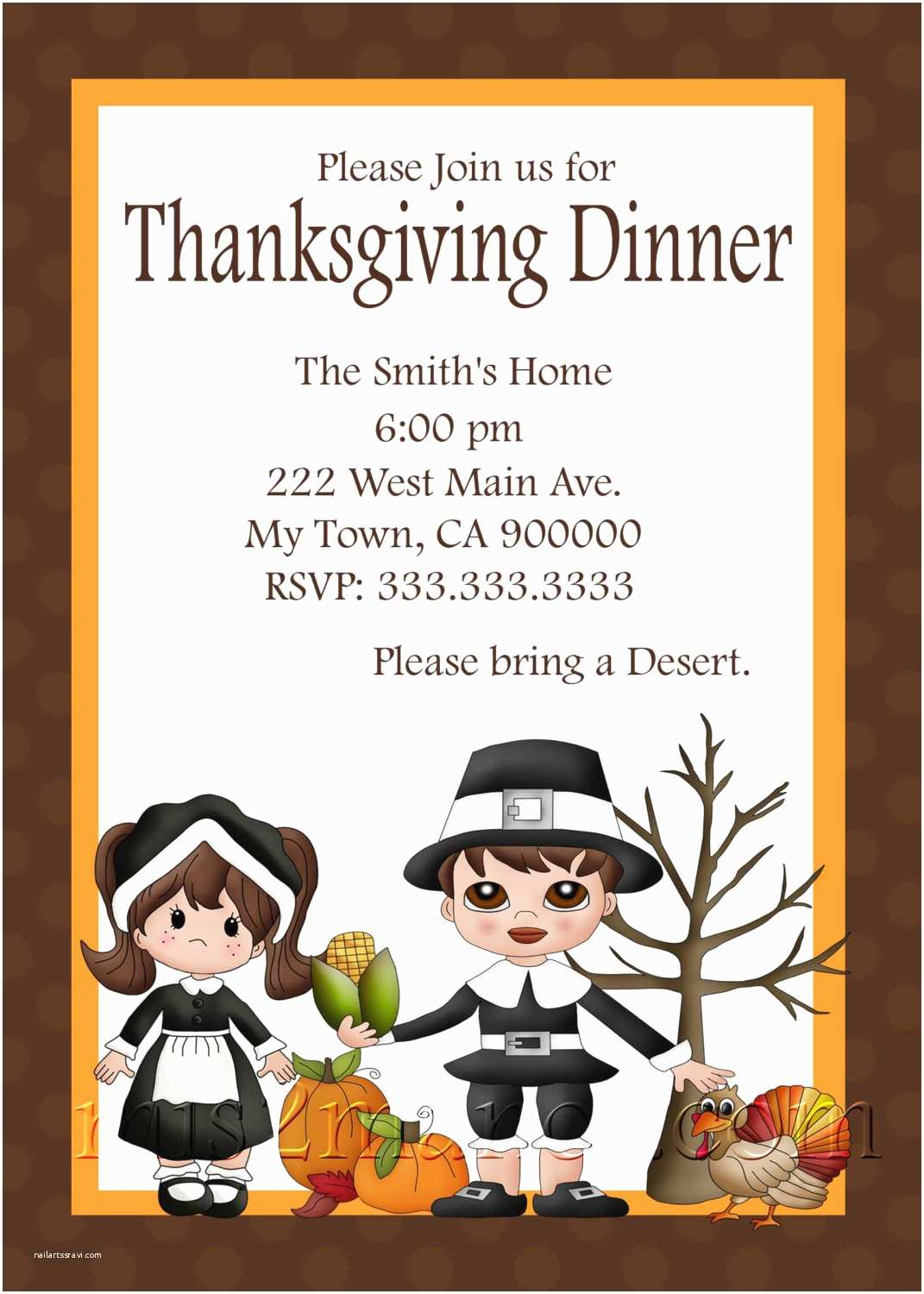 cute thanksgiving invitation card for dinner with little kids picture and ve ables and turkey also brown font color
