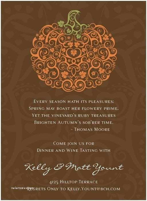 Thanksgiving Wedding Invitation Wording Filigree Pumpkin Chocolate Invitation