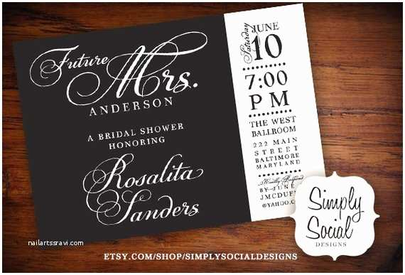 The Future Mr and Mrs Wedding Invitation Future Mrs Bridal Shower Invitation Black and White