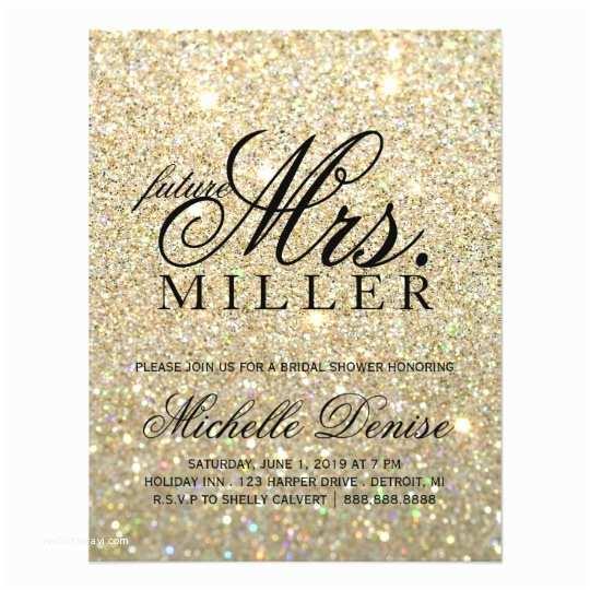 The Future Mr and Mrs Wedding Invitation Invite Gold Glit Fab Future Mrs Bridal Shower 3