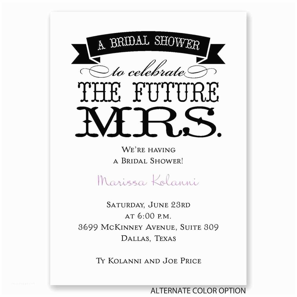 The Future Mr and Mrs Wedding Invitation the Future Mrs Mini Bridal Shower Invitation