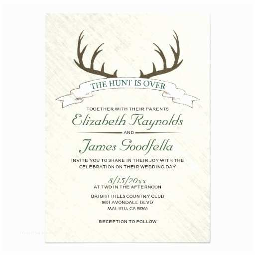 The Hunt is Over Wedding Invitations Personalized Deer Hunting Invitations