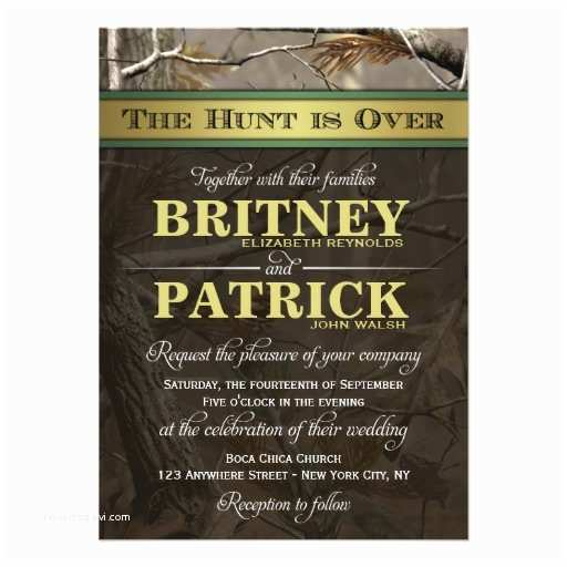 "The Hunt is Over Wedding Invitations the Hunt is Over Hunting Camo Wedding Invitations 4 5"" X 6"