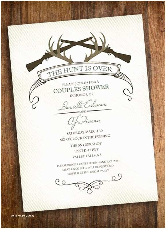 The Hunt is Over Wedding Invitations the Hunt is Over Hunting Couples Shower Invitation