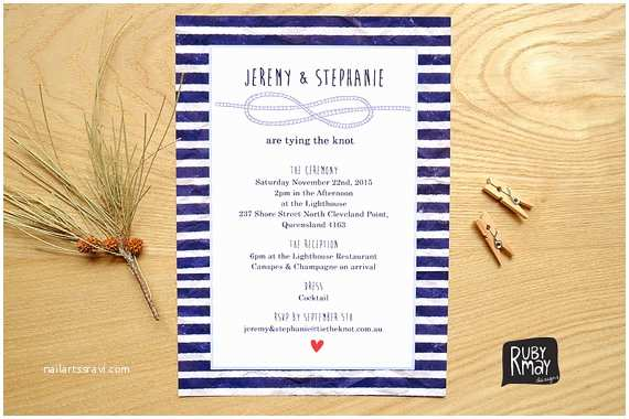The Knot Wedding Invitations Items Similar to Nautical Wedding Invitation Tie the Knot