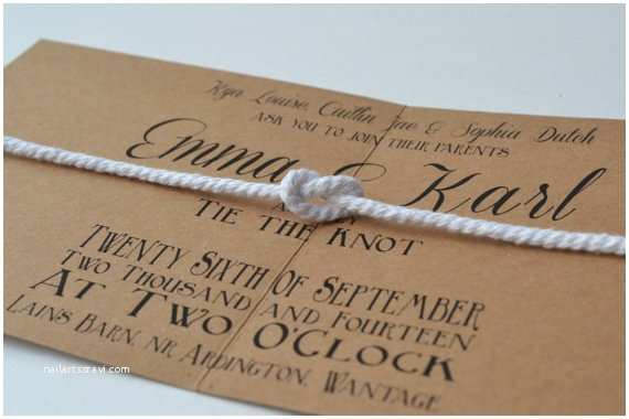 The Knot Wedding Invitations Items Similar to New Design Tie the Knot Folded Wedding