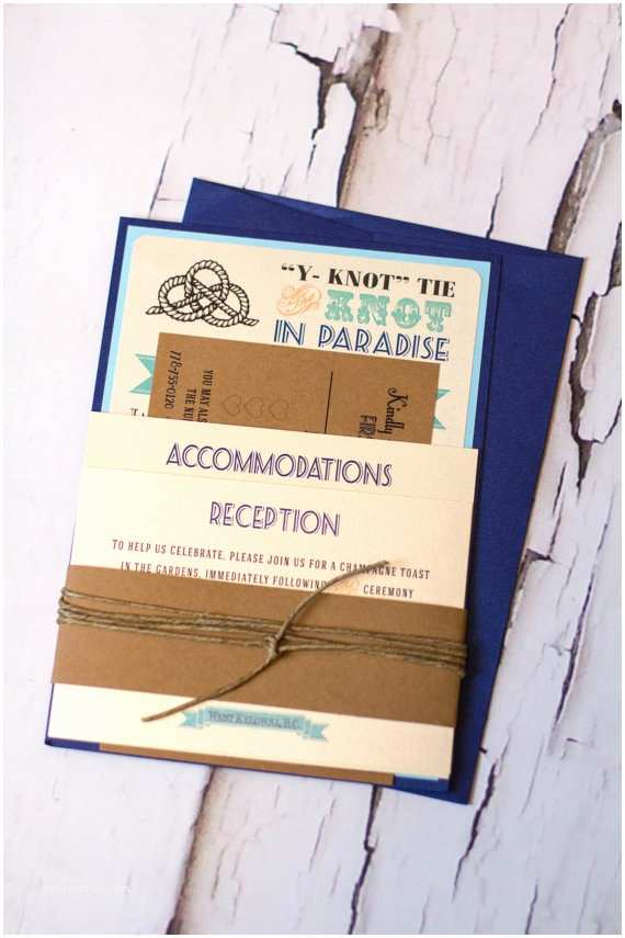 The Knot Wedding Invitations Nautical Tie the Knot Wedding Invitation Set