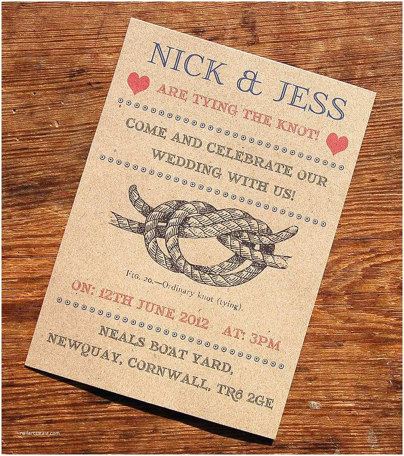 The Knot Wedding Invitations Vintage Seaside Wedding Stationery Range by A Bird & A Bee