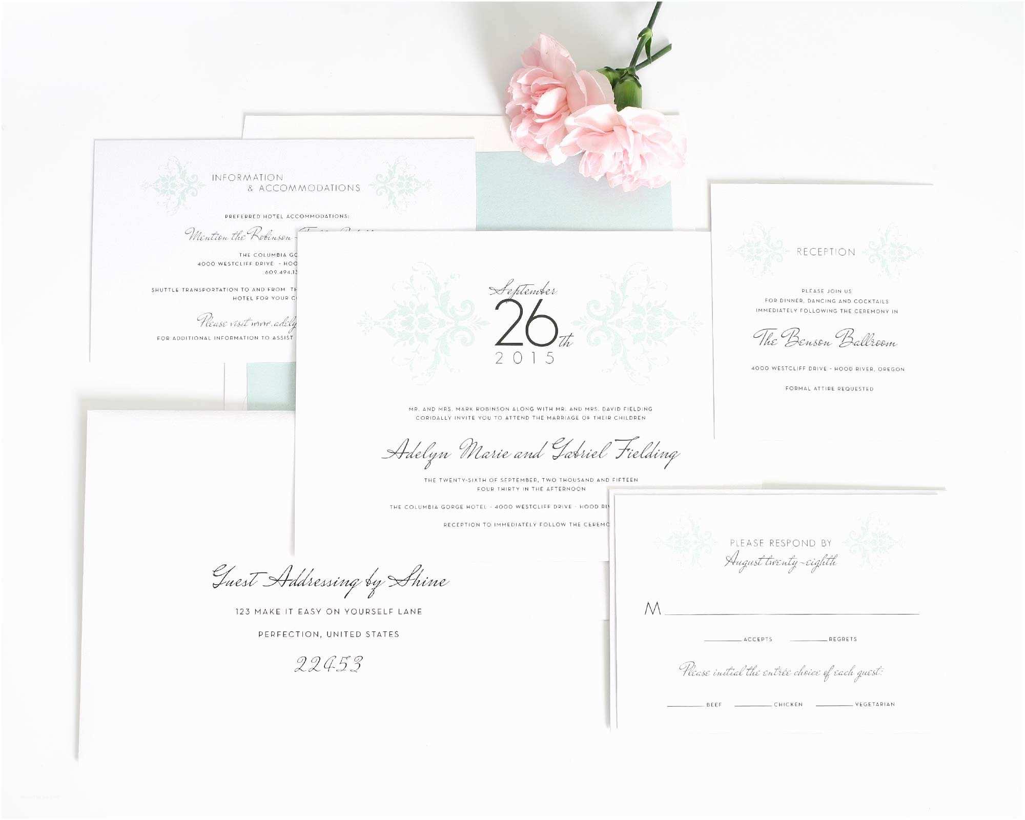 The Mint Wedding Invitations Elegant Damask Wedding Invitations In Mint – Wedding