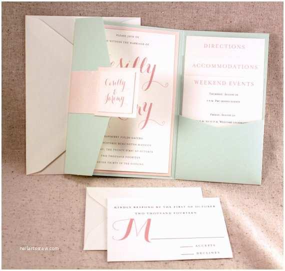 The Mint Wedding Invitations Mint Pocketfold Wedding Invitation Bellus Designs