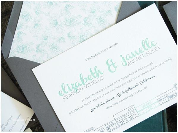 The Mint Wedding Invitations Modern Mint and Gray Wedding Invitations