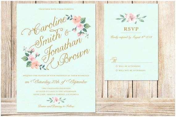 The Mint Wedding Invitations Printable Wedding Invitation and Rsvp Card Mint