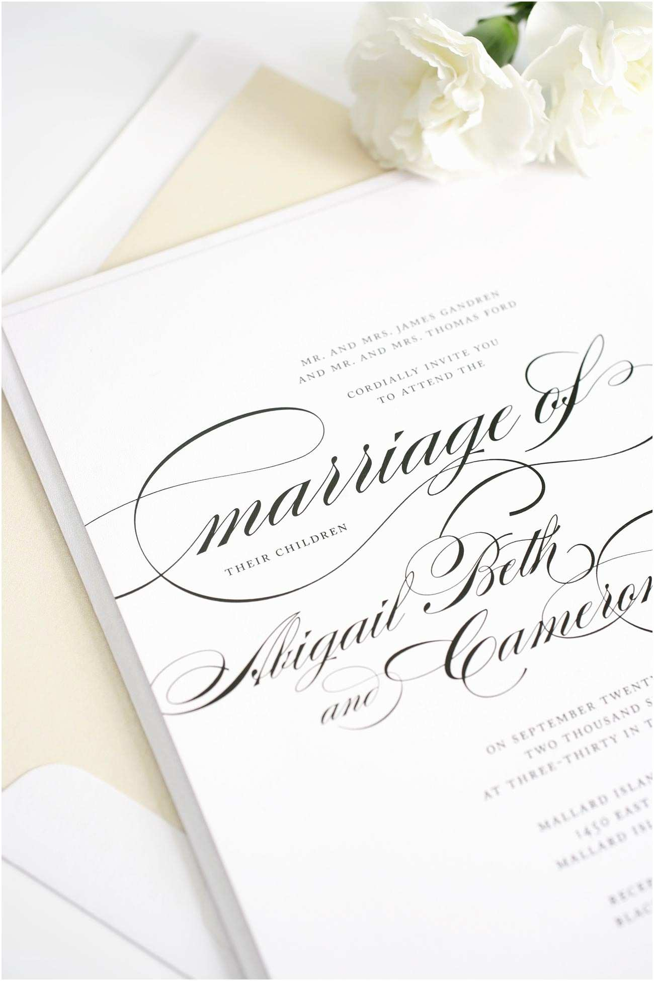 The Most Beautiful Wedding Invitations Beautiful Wedding Invitations with Swirls and Swashes
