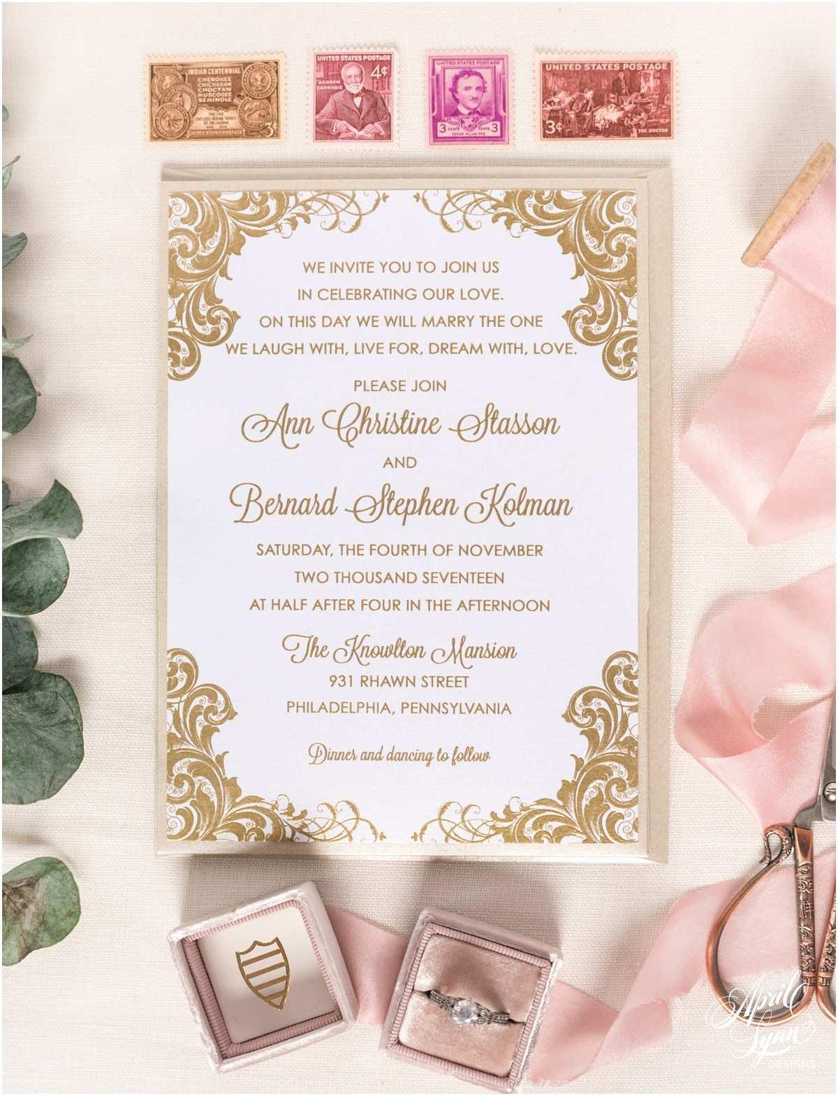 Thermography Wedding Invitations Ann Bernard's Gold thermography Wedding Invitation Suite