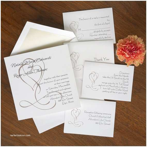 Thermography Wedding Invitations Heart themed Invitation Set thermography Wedding Invite