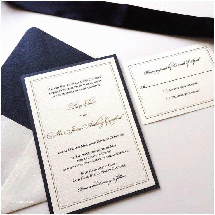 Thermography Wedding Invitations Lirys & Justin S Navy & Metallic Gold thermography Wedding