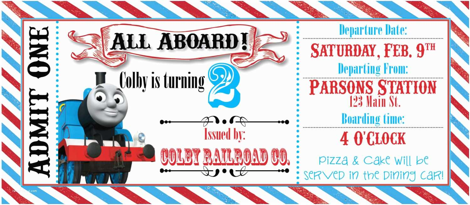 "Thomas the Train Birthday Invitations Search Results for ""free Printable Train Ticket Template"