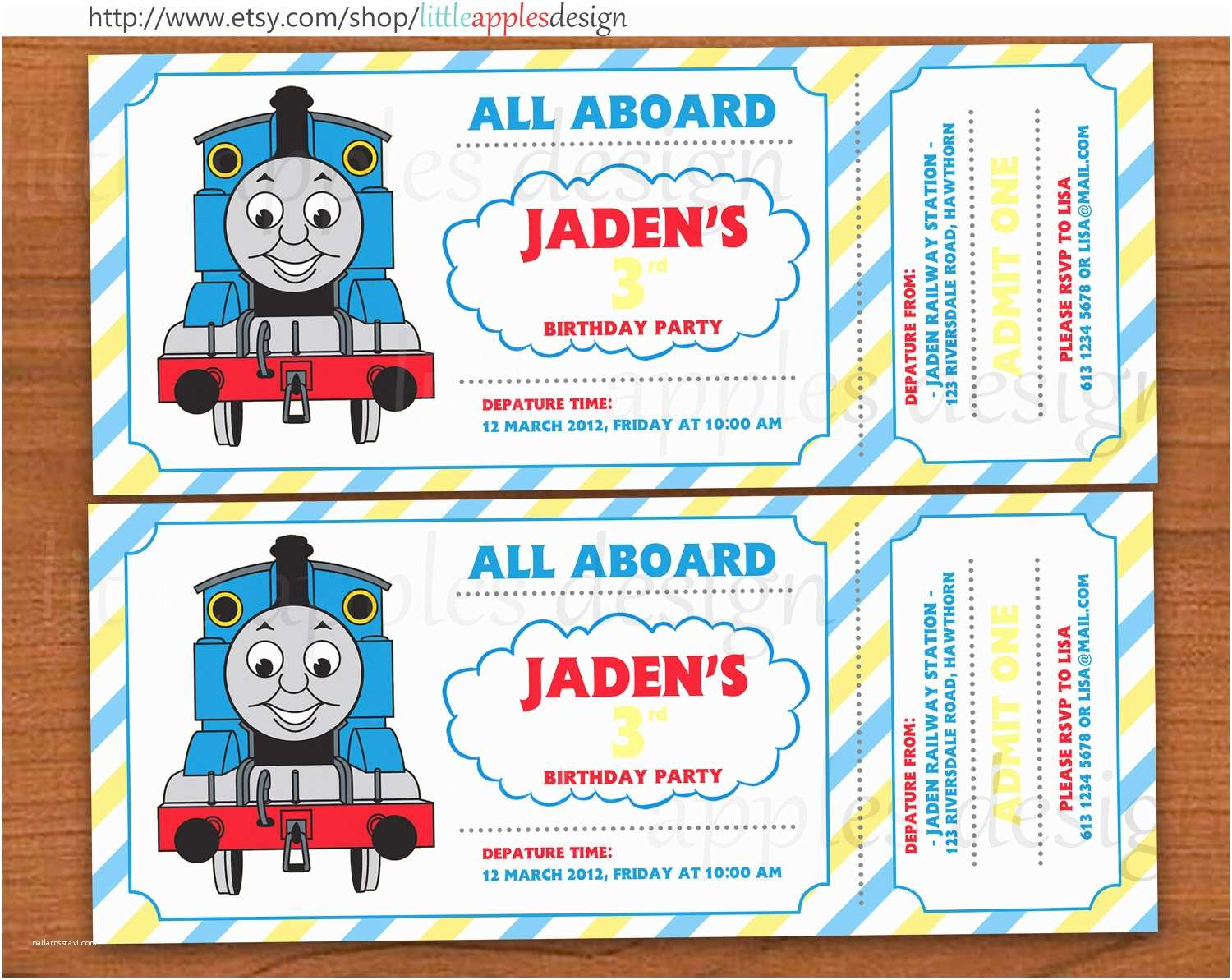 Thomas The Train Birthday Invitations Engine Invitation Editable