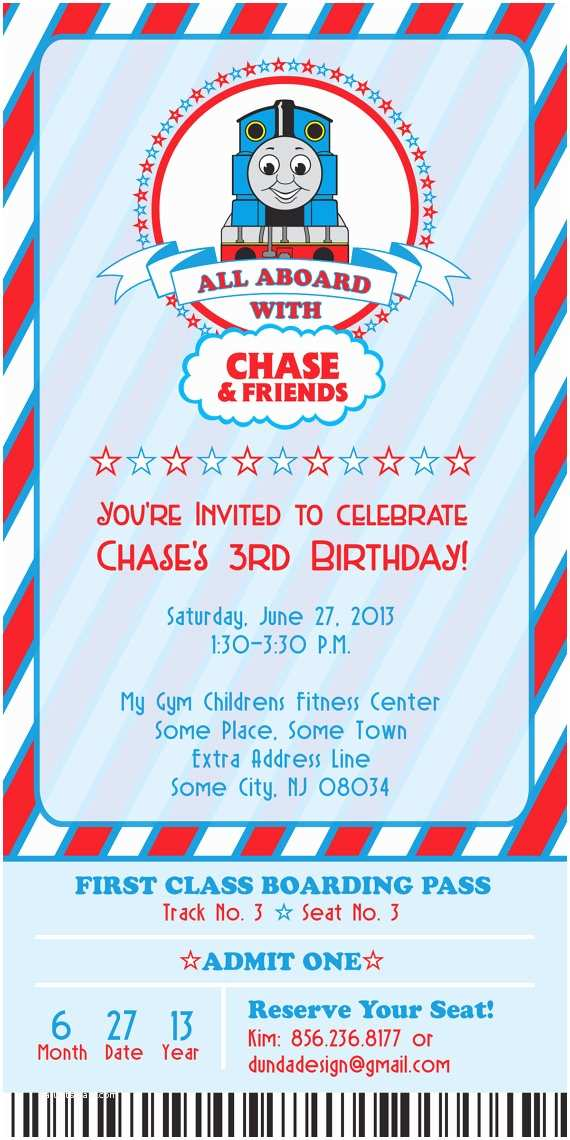 Thomas the Train Birthday Invitations Thomas the Train Birthday Invitation by Dundadesign On Etsy