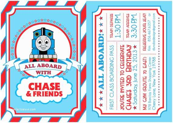 Thomas the Train Birthday Invitations Thomas the Train Birthday Invitation by Dundadesign On Etsy