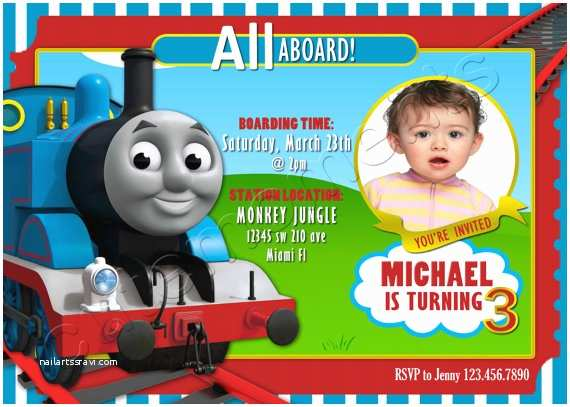 Thomas the Train Birthday Invitations Thomas the Train Personalized Birthday Party by Cutemoments