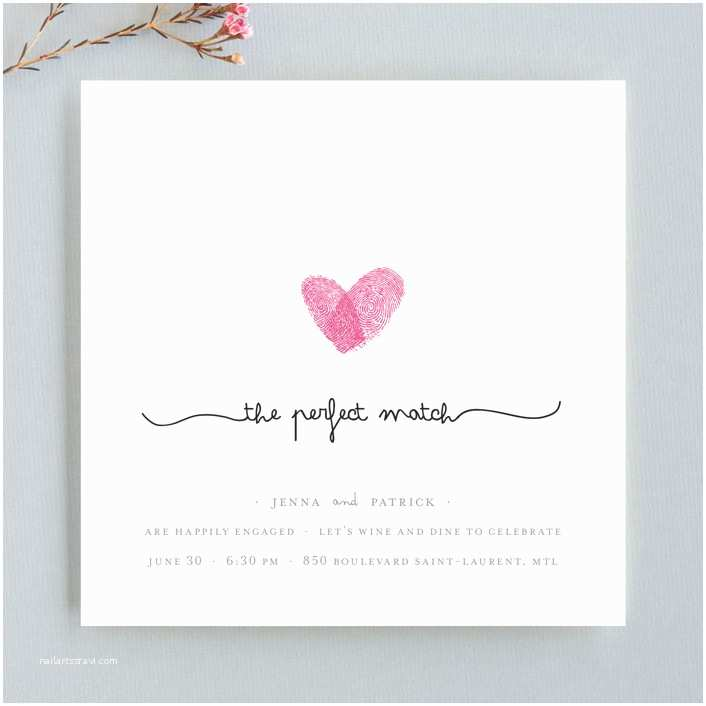 Thumbprint Heart Wedding Invitation Fingerprint Heart Engagement Party Invitations by Angelene