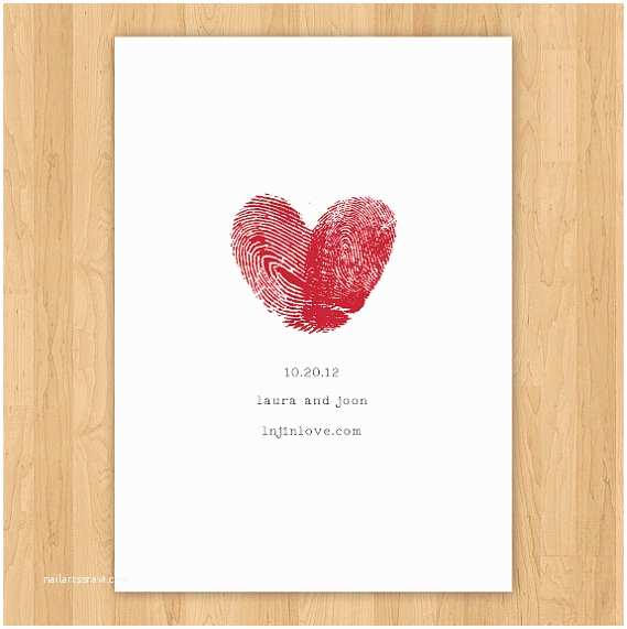 Thumbprint Heart Wedding Invitation Fingerprint Heart