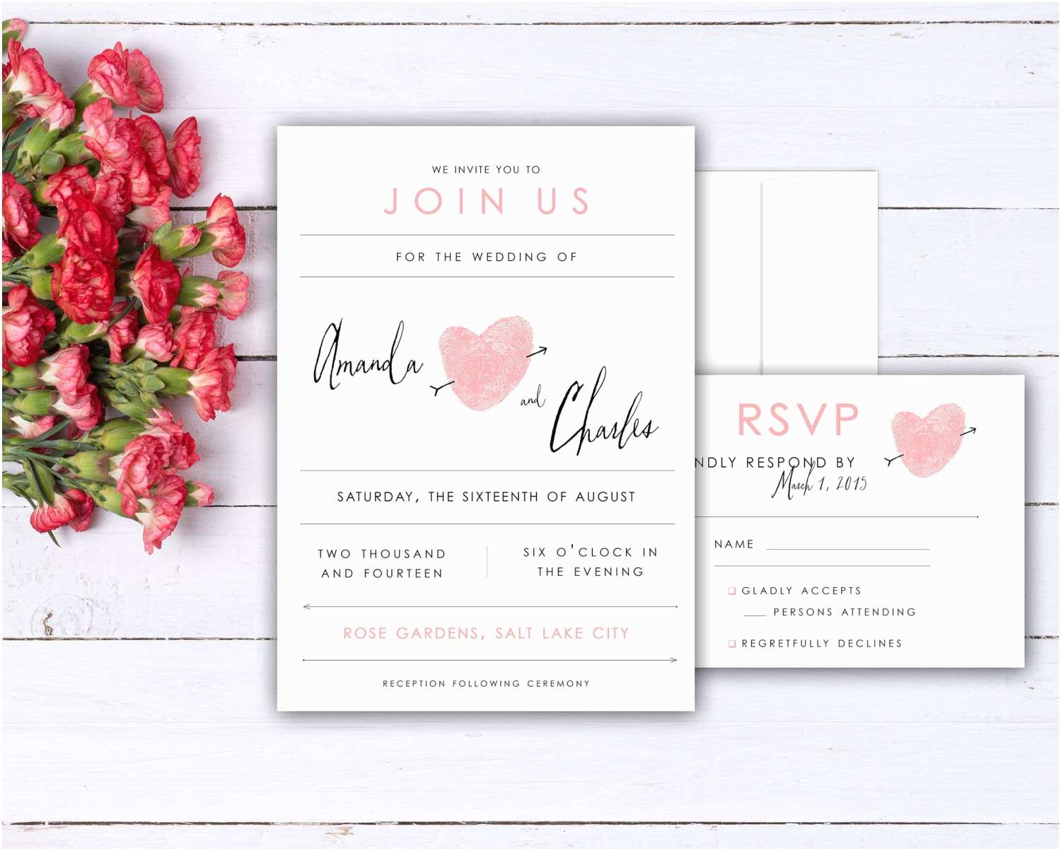 Thumbprint Heart Wedding Invitation Fingerprint Heart Wedding Invitation and Rsvp Card Set Made