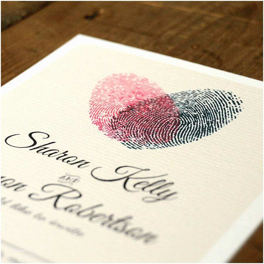 Thumbprint Heart Wedding Invitation Fingerprint Heart Wedding Invitation and Save the Date by