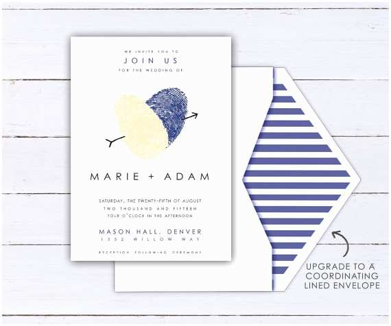 Thumbprint Heart Wedding Invitation Fingerprint Heart Wedding Invitation Made with Your