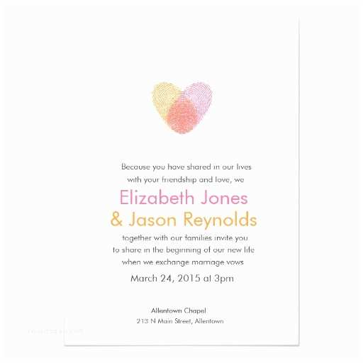 Thumbprint Heart Wedding Invitation Fingerprint Heart Wedding Invitation