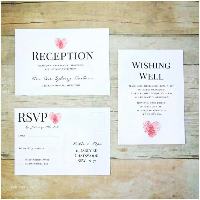 Thumbprint Heart Wedding Invitation Fingerprint Heart Wedding Invitation – the Belavi Printery