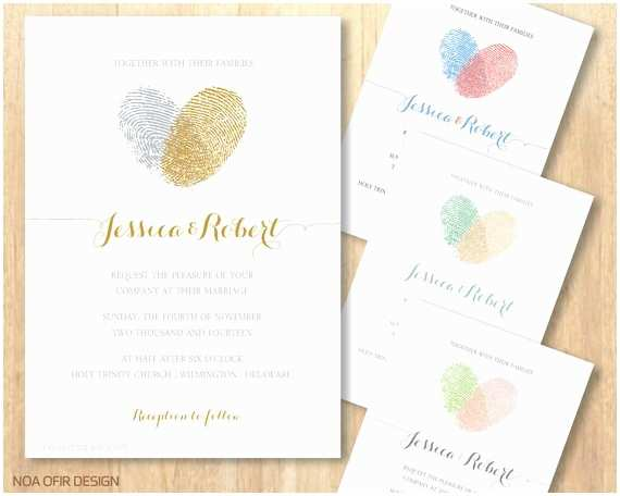 Thumbprint Heart Wedding Invitation Fingerprint Wedding Invitation Heart Wedding Invitation