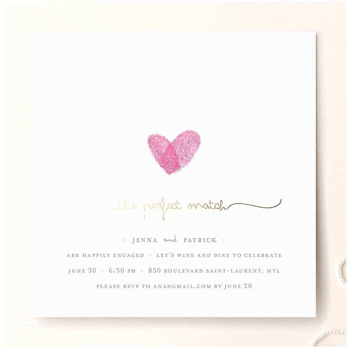Thumbprint Heart Wedding Invitation Gold Foil Fingerprint Engagement Invite