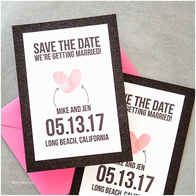 Thumbprint Heart Wedding Invitation Make Your Own Thumbprint Heart Save the Dates