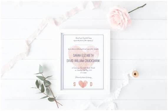 Thumbprint Heart Wedding Invitation Modern Thumbprint Heart Custom Wedding Invitation Diy