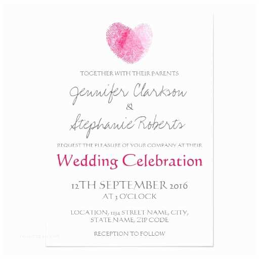 Thumbprint Heart Wedding Invitation Pink Heart Fingerprint Wedding Card