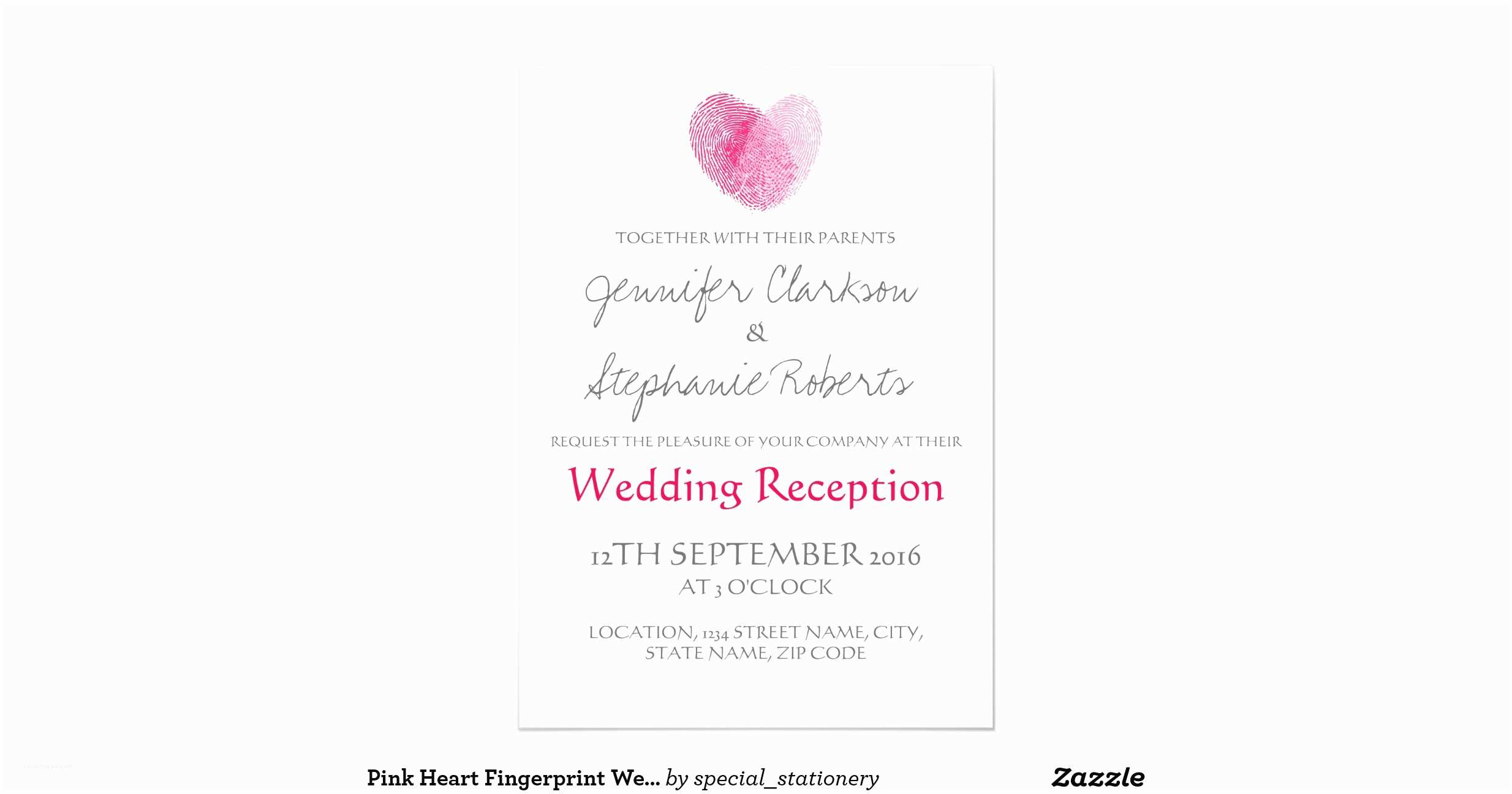 Thumbprint Heart Wedding Invitation Pink Heart Fingerprint Wedding Reception 13 Cm X 18 Cm