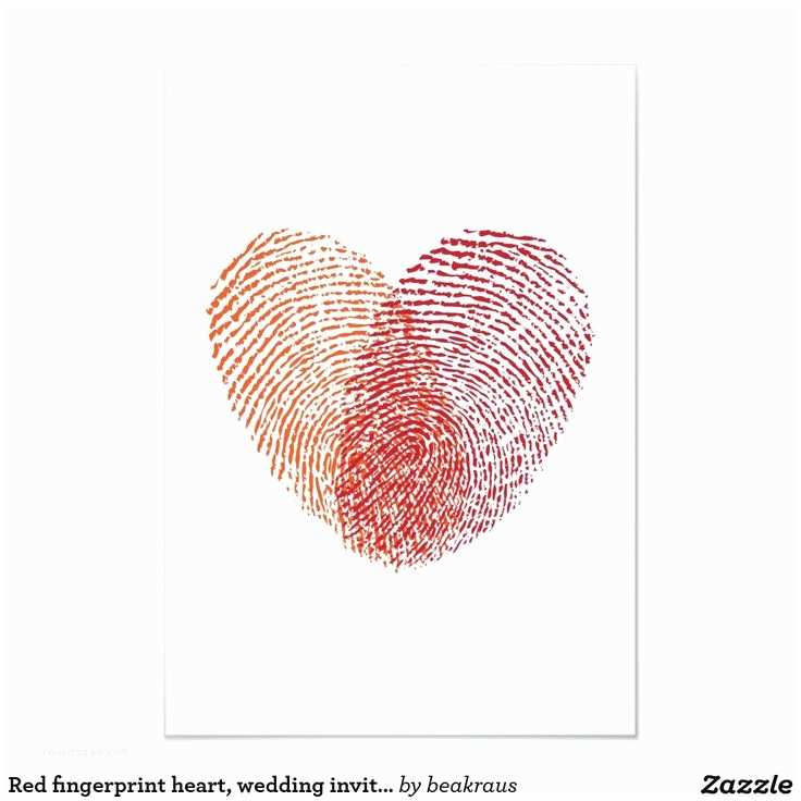 Thumbprint Heart Wedding Invitation Red Fingerprint Heart Wedding Invitation