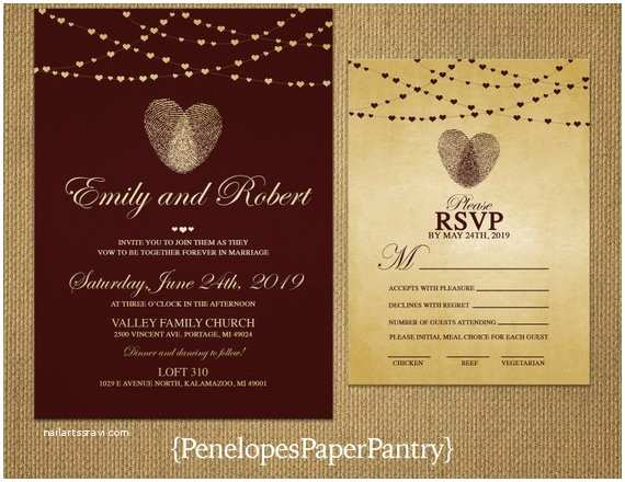 Thumbprint Heart Wedding Invitation Thumbprint Heart Wedding Invitationburgundy and Goldheart