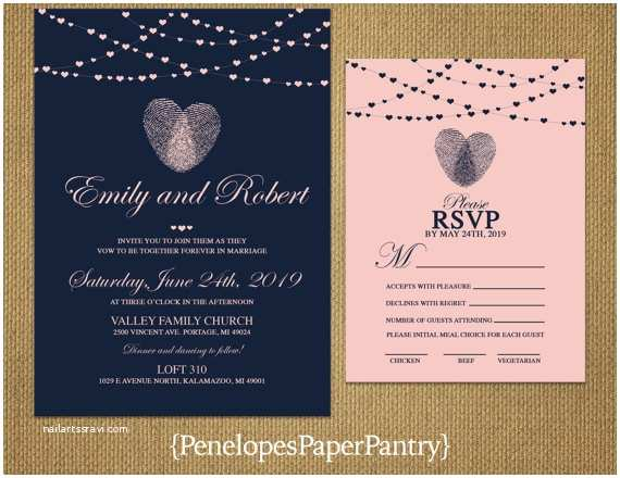Thumbprint Heart Wedding Invitation Thumbprint Heart Wedding Invitationnavy and Blushheart