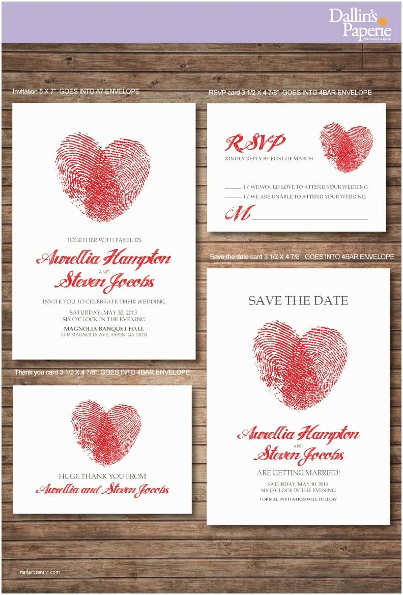 Thumbprint Heart Wedding Invitation Wedding Invitation Printables Finger Print Heart Customized
