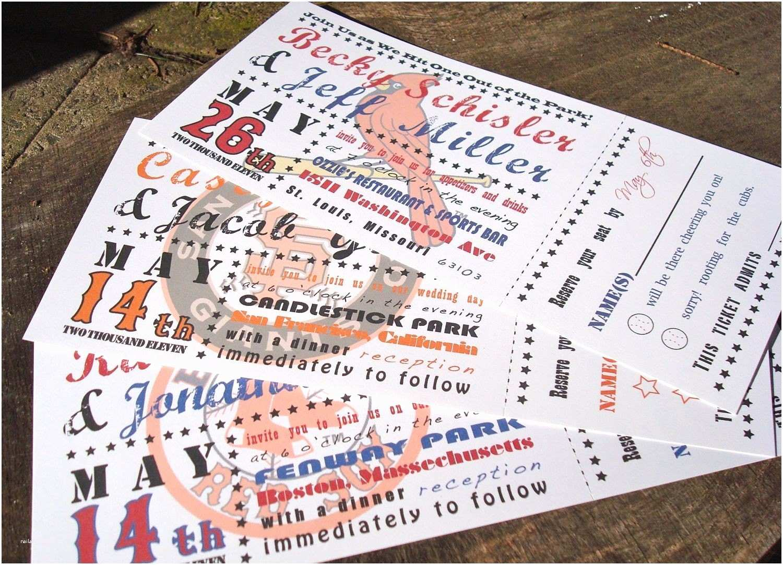 Ticket Stub Wedding Invitations Baseball Ticket Wedding Invitations Deposit to Get Started